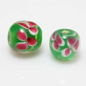 Venetian glass beads, Glass, green, Spherical, Diameter 10mm, 1 Bead, (LLZ034)